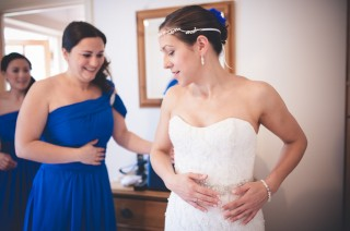 cornflower blue, bridal prep, fishtail dress