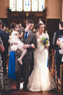 Quirky church wedding cornflower blue vintage headband