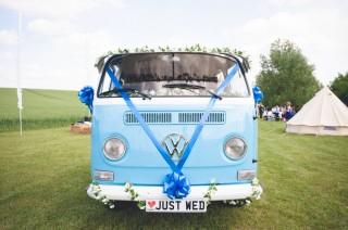 Volkswagen camper van festival wedding