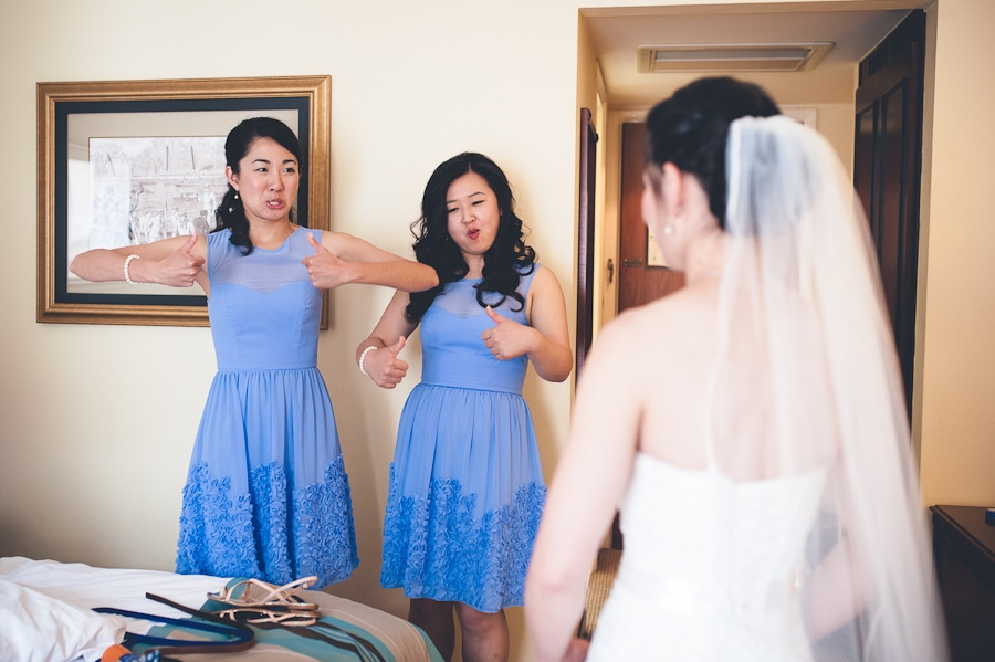 funny bridesmaid reaction Alternative wedding photographer london