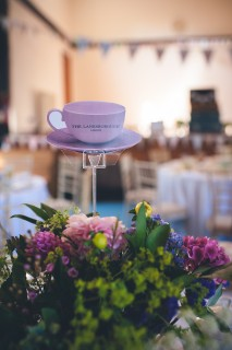 floral teacup wedding centrepieces
