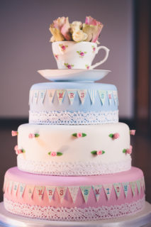 Vintage tea party wedding cake
