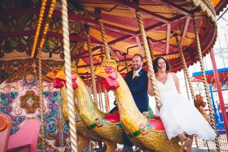 Carousel wedding photo