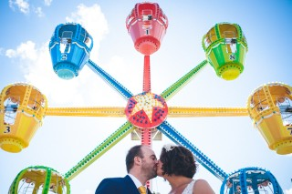 funfair ride wedding couple