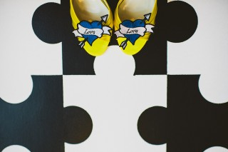 yellow shoes blue tattoo hearts
