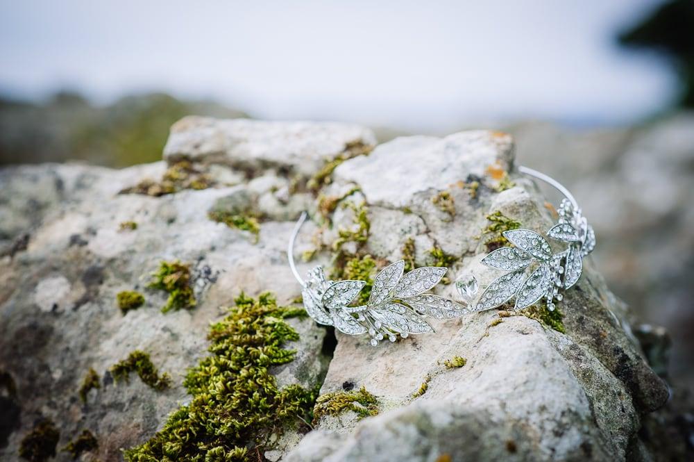 tiara on rocks