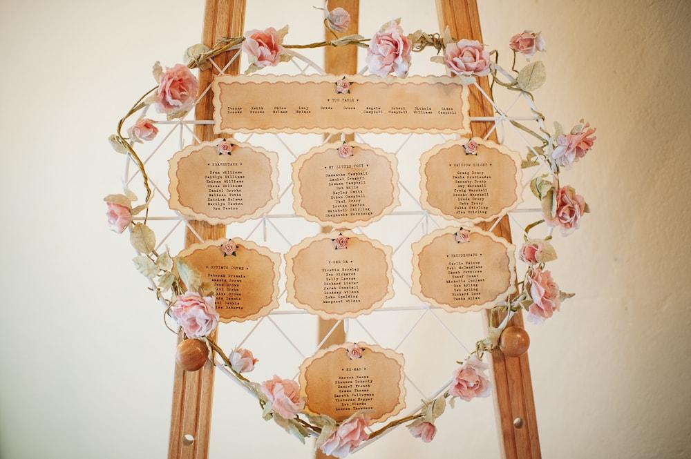 vintage rose table plan