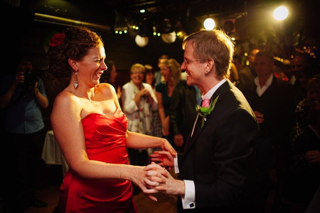 red dress bride dancing