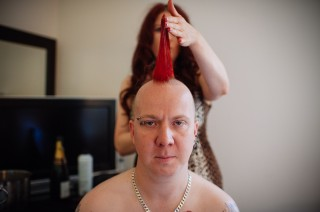 red mohican groom