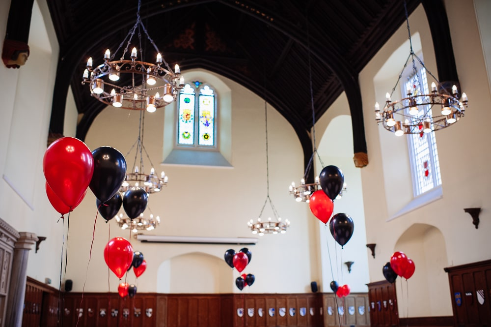 red black themed balloons