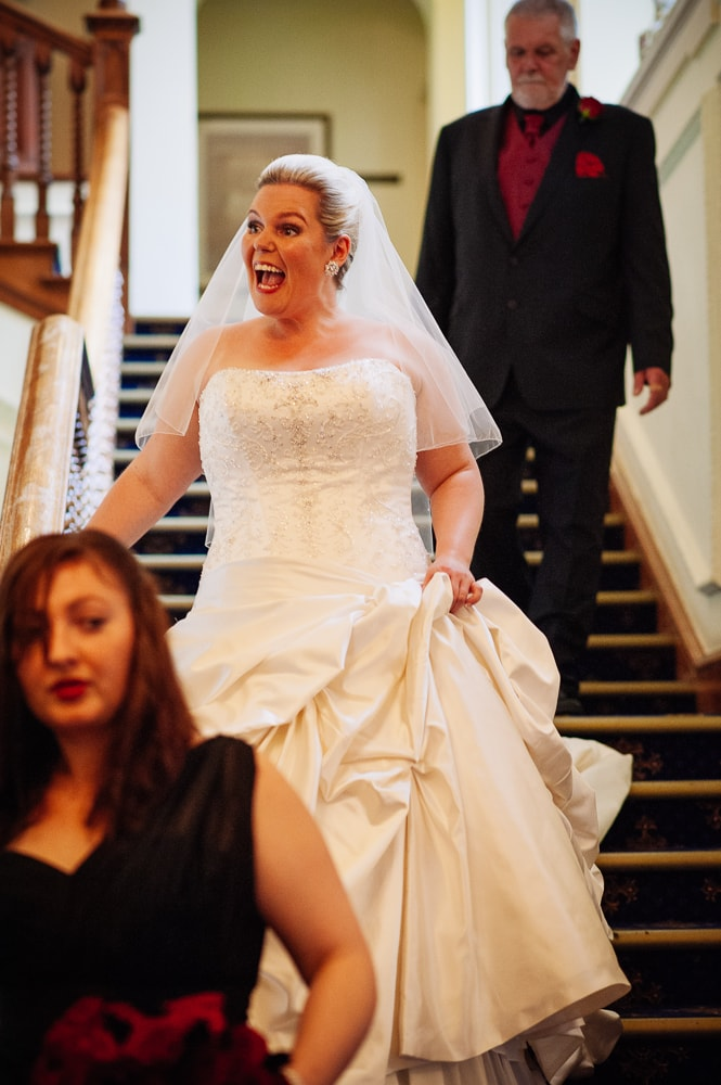 bride getting excited