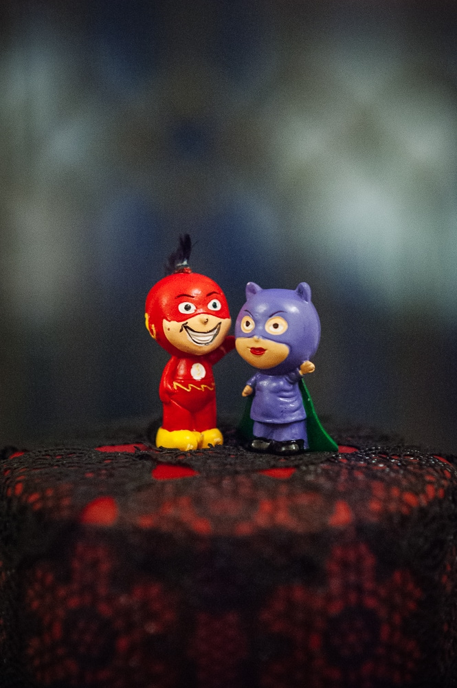 flash and cat woman cake toppers