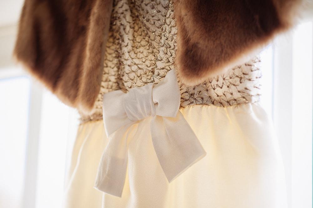vintage dress gold fur