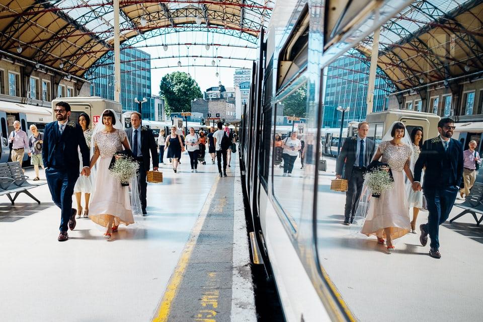 wedding couple on the tube