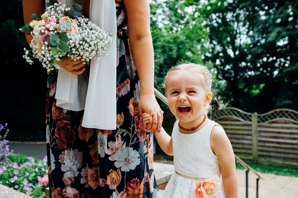 flower girl laughing hysterically