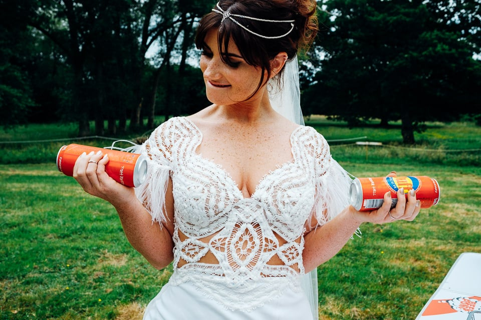 bride with beer cans