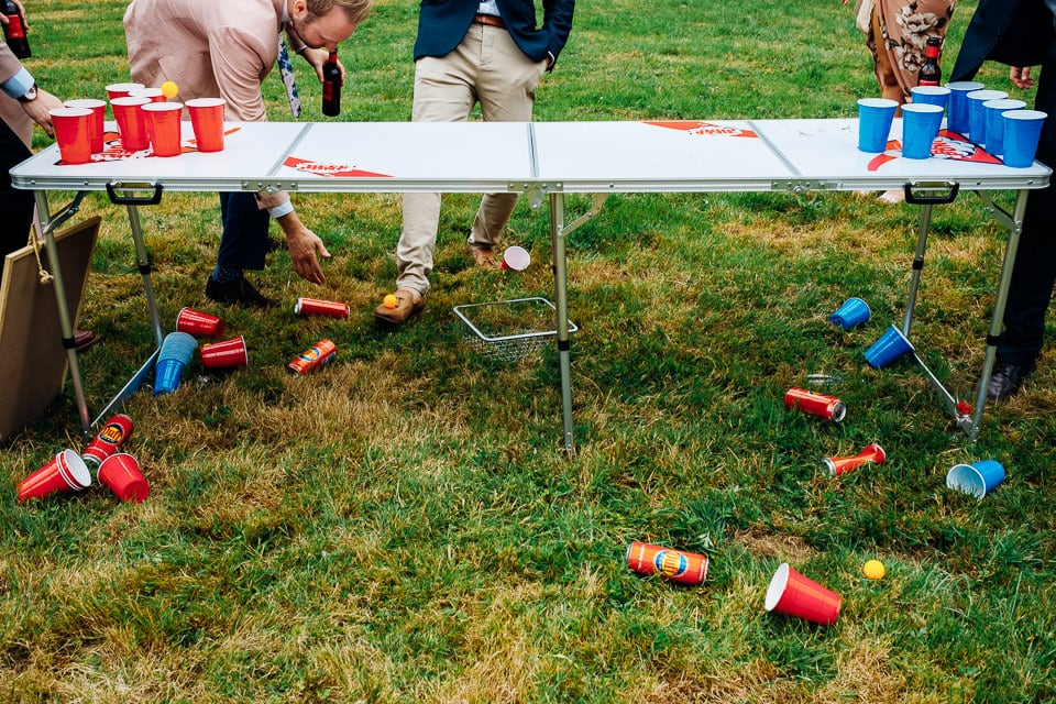 beer pong at wedding