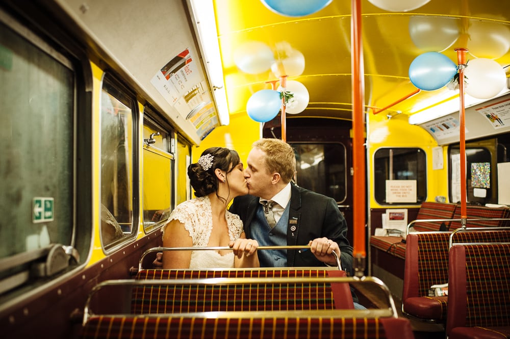 couple on routemaster london bus