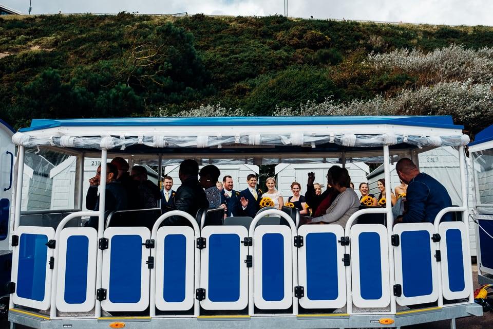 blue tram wedding group photo