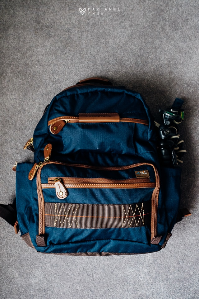 blue camera rucksack