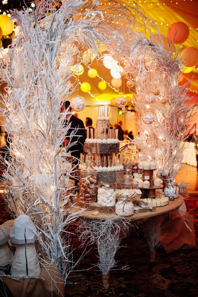 luxury winter snow sweetie table