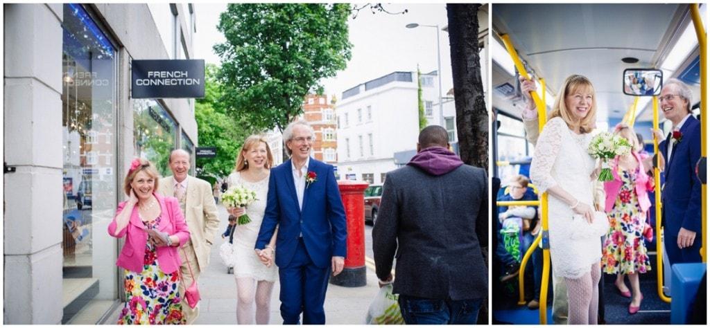 bride groom london bus
