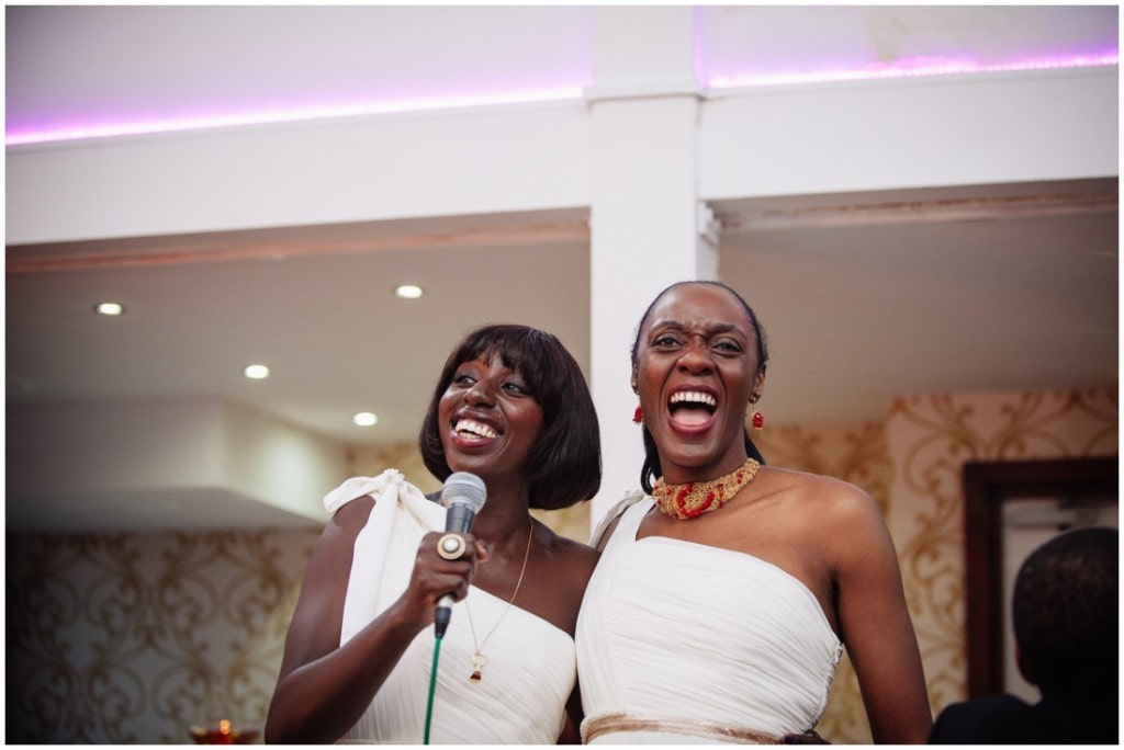 bridesmaids laughing during speech