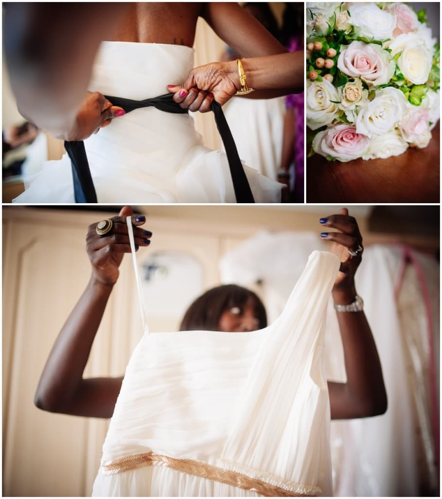 bridal prep and pink white roses