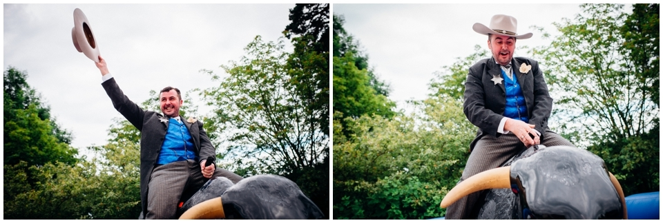 fun bucking bronco wedding