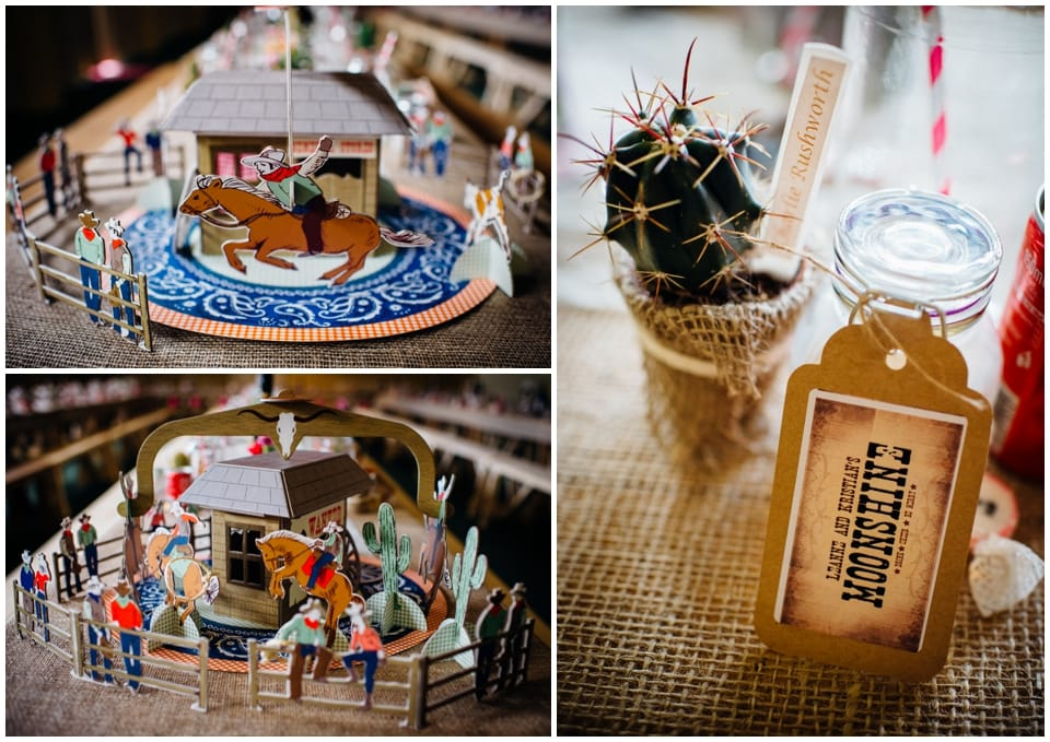 cowboy western themed wedding centrepieces